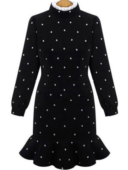Polo Neck Polka Dot Mermaid Dress - $19.67