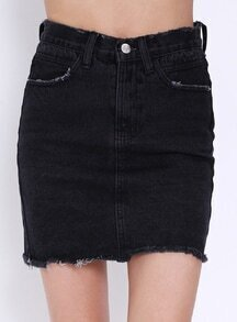 Frayed Denim Black Skirt