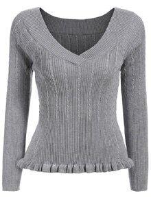 V Neck Peplum Hem Grey Sweater