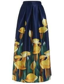 Floral Long Navy Skirt