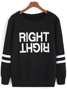 Letter Print Varsity Striped Black Sweatshirt