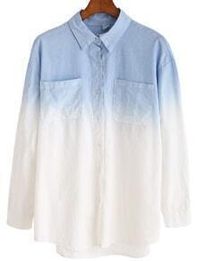 Lapel Ombre Pockets Blouse
