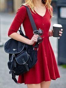 V Neck Knit Button-Down A-Line Red Dress