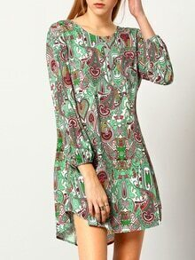 Multicolor Long Sleeve Paisley Print Dress