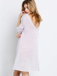 Purple Long Sleeve Backless Dress