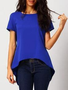 Blue Short Sleeve High Low Blouse