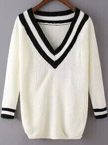V Neck Varsity Striped White Sweater