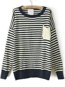 Round Neck Striped Pocket Sweater