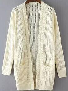 Open-Knit Pockets Beige Cardigan