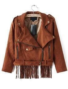 Lapel Zipper Tassel Suede Crop Jacket