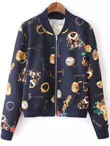 Stand Collar key Print Navy Jacket