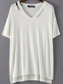 V Neck Dip Hem Hollow White T-shirt