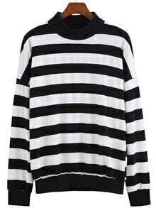 Stand Collar Striped Sweatshirt