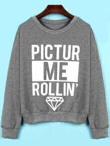 Letter Print Loose Grey Sweatshirt