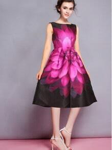 vestido sin manga florales plisada-negro