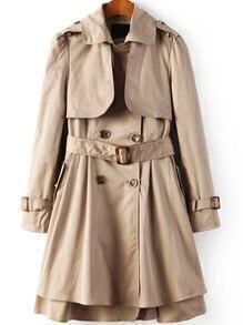 Lapel Double Breasted Layered Belt Khaki Coat