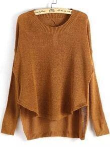 Dip Hem Knit Khaki Sweater