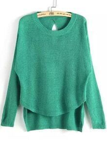 Dip Hem Knit Green Sweater