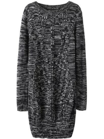 Cable Knit Long Grey Sweater - $18.33