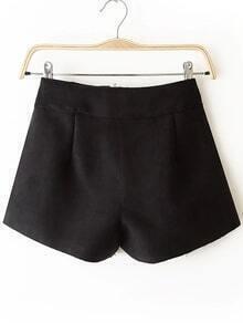 Pockets Zipper Black Shorts