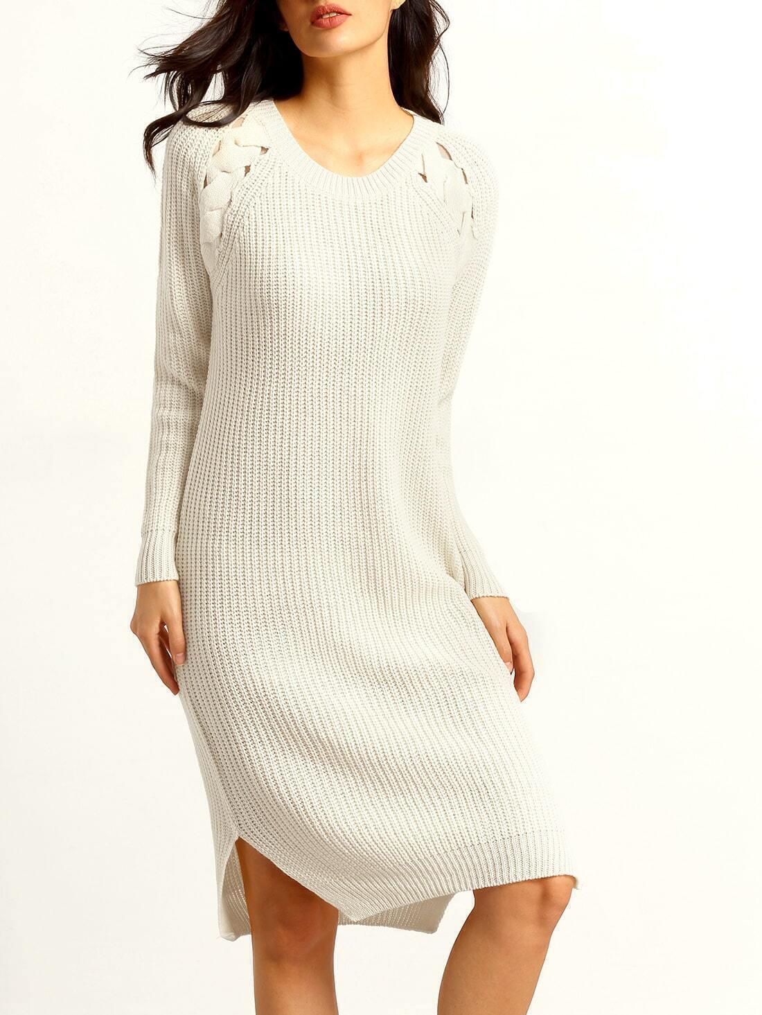 Long Sleeve Hollow Side Slit High Low Dress - $19.00