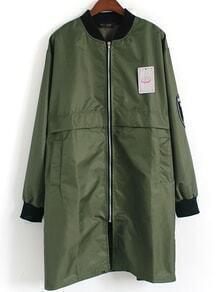 Contrast Collar Zipper Patch Army Green Coat