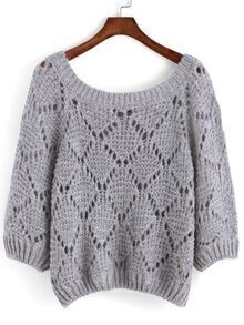Open-Knit Loose Grey Sweater