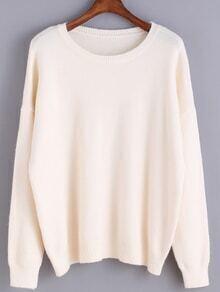 Round Neck Knit Beige Sweater