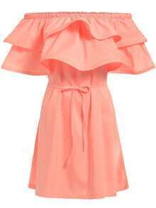 Boat Neck Ruffle Self-Tie Pink Dress
