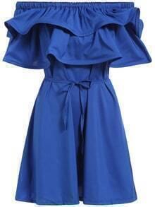 Boat Neck Ruffle Self-Tie Blue Dress