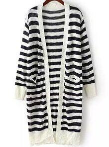 Striped Open-Knit Slit Black Cardigan