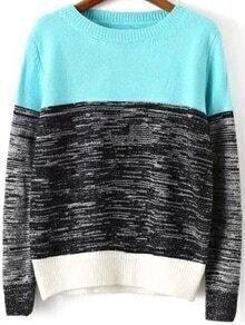 Long Sleeve Knit Blue Sweater