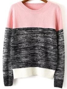 Color-block Long Sleeve Knit Sweater