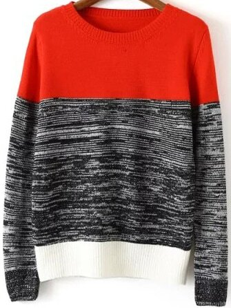 Long Sleeve Knit Red Sweater