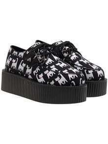 Black Cat Print PU Lace Up Heavy-bottomed Flats