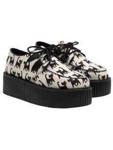 Apricot Cat Print PU Lace Up Heavy-bottomed Flats