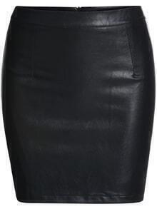 Bodycon PU Zipper Black Skirt