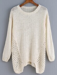 Long Sleeve Open-Knit Apricot Sweater