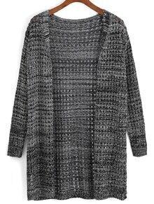 Open-Knit Side Slit Cardigan
