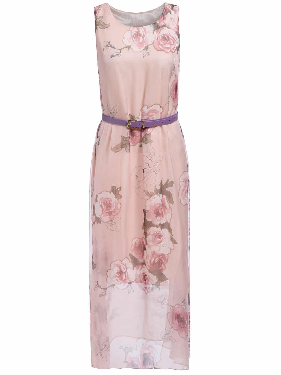 Sleeveless Floral Chiffon Pink Dress - $16.67