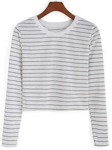 Round Neck Striped Crop White Sweatshirt