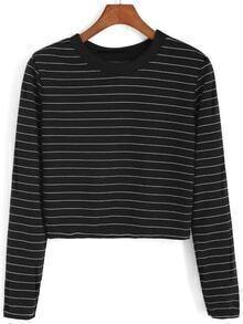 Round Neck Striped Crop Black Sweatshirt