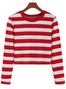 Round Neck Striped Crop Sweatshirt