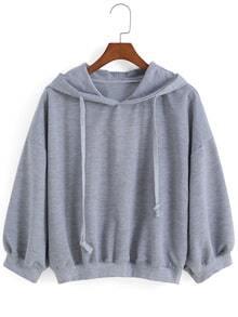 Kapuzen-Sweatshirt mit Tunnelzug-grau