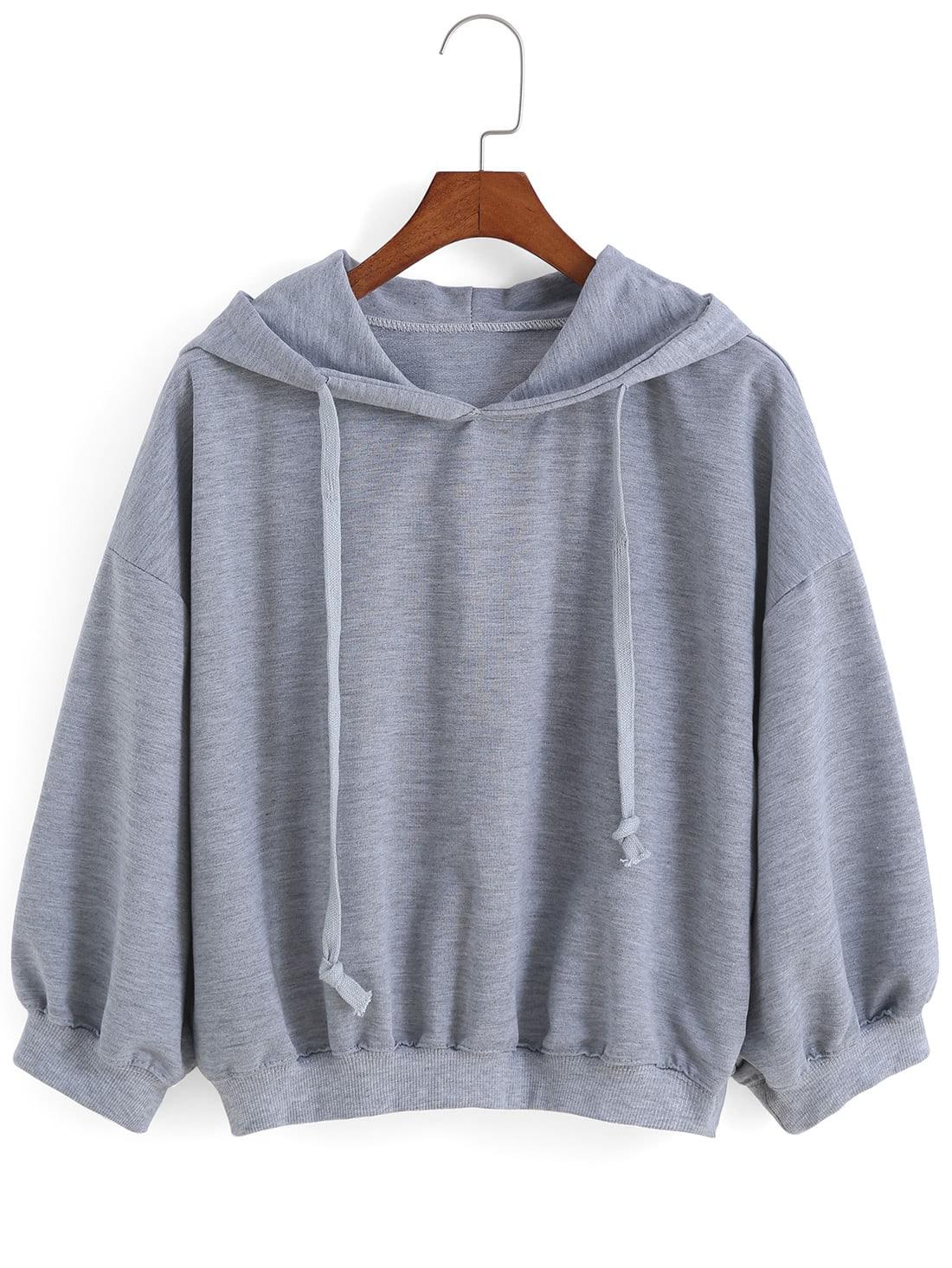 Hooded Drawstring Loose Grey Sweatshirt
