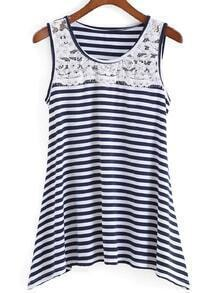 Lace Striped Blue and White Tank Top