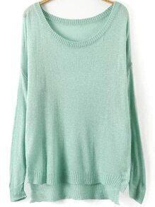 Dip Hem Slit Pale Blue Sweater