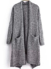 Open-Front Slit Pockets Cardigan