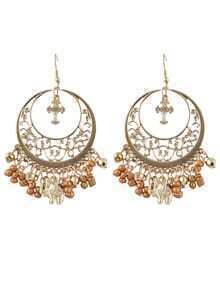 Brown Ethnic Style Beads Tassel Large Chandelier Earrings