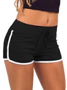 Drawstring Contrast Trims Black Sport Shorts